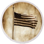 Round Beach Towel featuring the photograph Old Glory by Aaron Berg