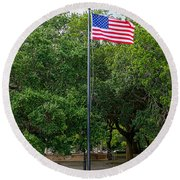 Round Beach Towel featuring the photograph Old Glory High And Proud by Sennie Pierson