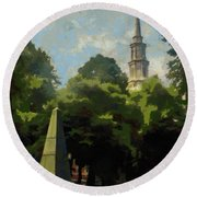 Round Beach Towel featuring the painting Old Granery Burying Ground by Jeff Kolker