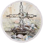 Round Beach Towel featuring the photograph Old Gravestone Marker by Kerri Mortenson