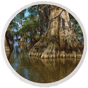 Old-growth Cypresses At Lake Fausse Round Beach Towel