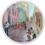 Old Havana Street Life - Sale - Large Scenic Cityscape Painting Round Beach Towel