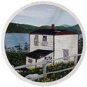 Round Beach Towel featuring the painting Old House - If Walls Could Talk by Barbara Griffin