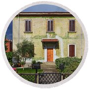 Old House In Crespi D'adda Round Beach Towel