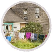 Old House With Laundry Round Beach Towel by Keith Webber Jr