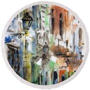 Old Houses Of San Juan Round Beach Towel