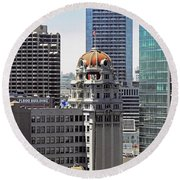 Round Beach Towel featuring the photograph Old Humboldt Bank Building In San Francisco by Susan Wiedmann