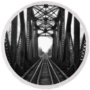 Old Huron River Rxr Bridge Black And White  Round Beach Towel by Daniel Thompson