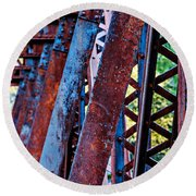 Old Iron Round Beach Towel by Mary Jo Allen