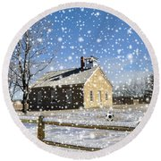 Round Beach Towel featuring the photograph Old Kansas Schoolhouse by Liane Wright
