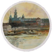 Old Krakow Round Beach Towel