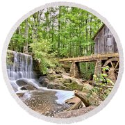 Old Lefler Grist Mill Round Beach Towel
