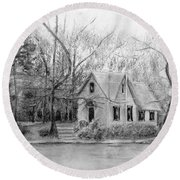 Old Library On Lake Afton - Winter Round Beach Towel