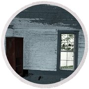 Old Log House Interior Round Beach Towel