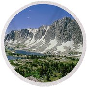 M-09702-old Main Peak, Wy Round Beach Towel