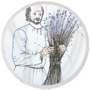 Old Man And Flax Round Beach Towel