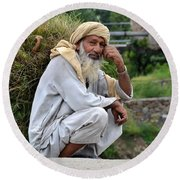 Old Man Carrying Fodder Swat Valley Kpk Pakistan Round Beach Towel