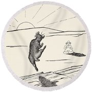 Old Man Kangaroo Round Beach Towel by Rudyard Kipling