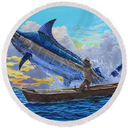 Old Man And The Sea Off00133 Round Beach Towel