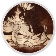 Old Masters Still Life - With Great Bittern Duck Rabbit - Nature Morte - Natura Morta - Still Life Round Beach Towel