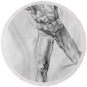 Old Masters Study Nude Man By Annibale Carracci Round Beach Towel