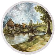 Old Mill By The Water - Impressionistic Landscape Round Beach Towel