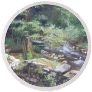 Round Beach Towel featuring the painting Old Mill Steam II by Lori Brackett