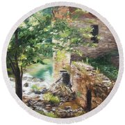 Round Beach Towel featuring the painting Old Mill Stream I by Lori Brackett