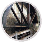 Round Beach Towel featuring the photograph Old Mill Water Wheel by Jeannie Rhode