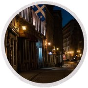 Old Montreal At Night Round Beach Towel by Cheryl Baxter