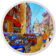 Round Beach Towel featuring the painting Old Montreal by Carole Spandau