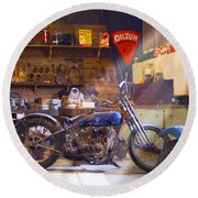 Old Motorcycle Shop 2 Round Beach Towel