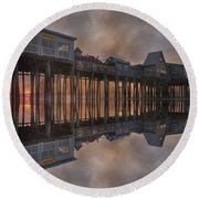 Old Orchard Pier Reflection Round Beach Towel