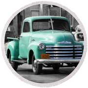 Old Pickup Truck Photo Teal Chevrolet Round Beach Towel