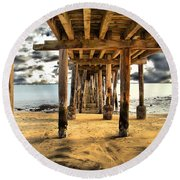 Old Pillar Point Pier Round Beach Towel