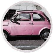 Old Pink Fiat 500 Round Beach Towel