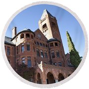 Round Beach Towel featuring the photograph Old Preston Castle by David Millenheft