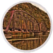 Round Beach Towel featuring the photograph Old Railroad Bridge With Sepia Tones by Jonny D