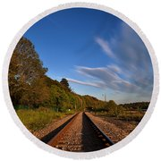 Old Railway Tracks, County Waterford Round Beach Towel