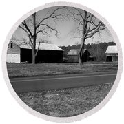Round Beach Towel featuring the photograph Old Red Barn In Black And White by Amazing Photographs AKA Christian Wilson