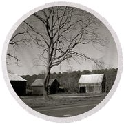 Old Red Barn In Black And White Long Round Beach Towel