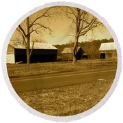 Round Beach Towel featuring the photograph Old Red Barn In Sepia by Amazing Photographs AKA Christian Wilson