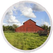 Round Beach Towel featuring the photograph Old Red Barn by Mark Greenberg