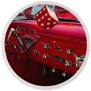 Round Beach Towel featuring the photograph Old Red Chevy Dash by Tikvah's Hope