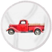 Old Red Ford Pickup Round Beach Towel