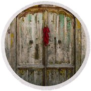 Old Ristra Door Round Beach Towel