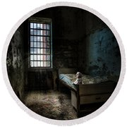 Round Beach Towel featuring the photograph Old Room - Abandoned Places - Room With A Bed by Gary Heller