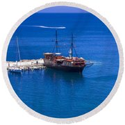 Old Sailing Ship In Bali Round Beach Towel