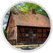 Old Salem Scene 3 Round Beach Towel