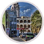 Round Beach Towel featuring the photograph Old San Juan Cityscape by Daniel Sheldon